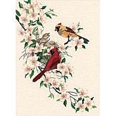 Cardinals in Dogwood Crewel Kit