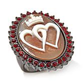 """AMEDEO """"King of Hearts"""" 30mm Cameo Crystal Ring"""