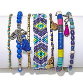 Kelly Killoren Blue Multi Beaded and Woven Bracelets