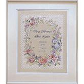 Two Hearts Wedding Record Stamped Cross Stitch Kit