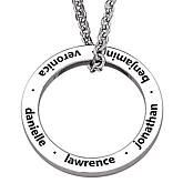Family Name Engraved Disc Pendant with Chain
