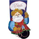 "Cowboy Santa 18"" Felt Stocking Applique Kit"