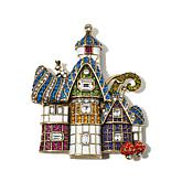 "Heidi Daus ""The Witzend Cottage"" Crystal and Enamel Pin"