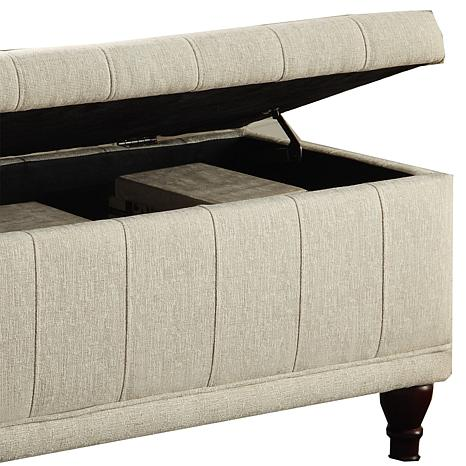 Home Origin Lift Up Fabric Storage Bench Hsn