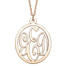 10K Gold 3-Initial Monogram Pendant with Chain