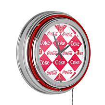 Coca-Cola Checkered Neon Clock - Two Neon Rings