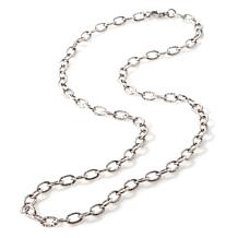 "Stately Steel 6mm 30"" Cross-Cut Link Chain Necklace"