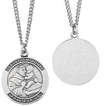 Sterling Silver Engraved St. Anthony Medal Pendant