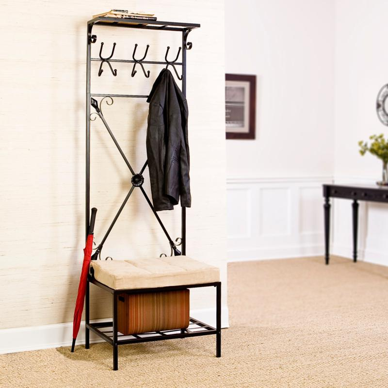 Entryway Storage Rack and Bench Seat at HSN.