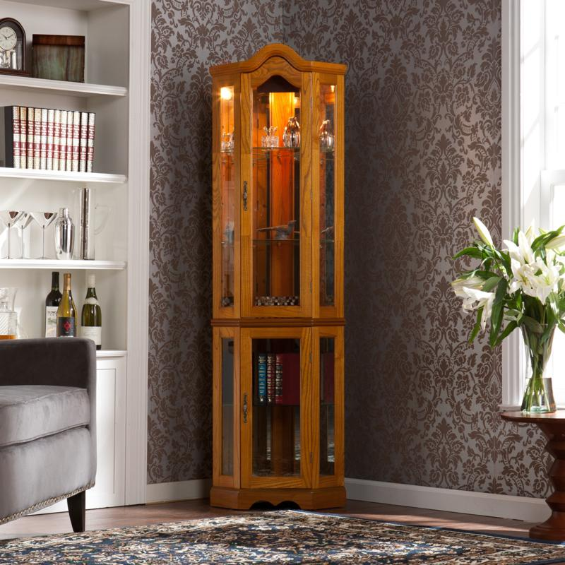 Lighted Corner Curio Cabinet - Golden Oak at HSN.